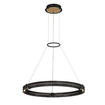 Eurofase Admiral Round LED Chandelier - Color: Black - Size: Small - 37053-017