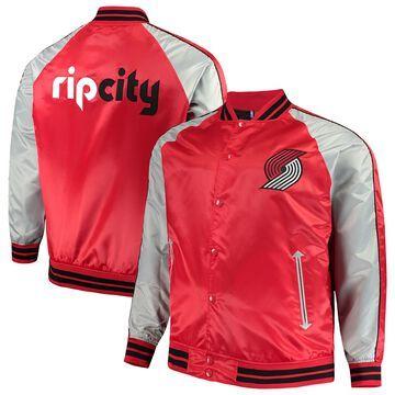 Men's Majestic Red Portland Trail Blazers Big & Tall Lightweight Satin Full-Snap Jacket