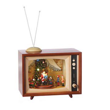 Roman 15 Inch Wide Visit To Santa Led Tv Musical Santa Tabletop Decor
