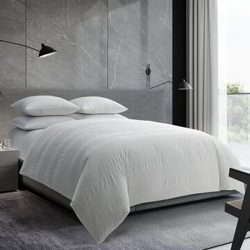 Vera Wang Waffle Stripe White Cotton Comforter Set