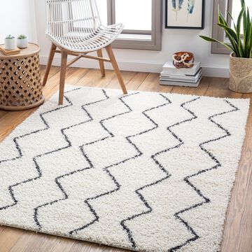 """Art of Knot Doux Gray 6'7"""" x 9' Global Striped Area Rug"""