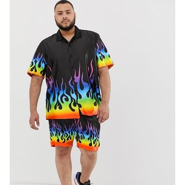 Jaded London festival two-piece shirt in black with rainbow flames
