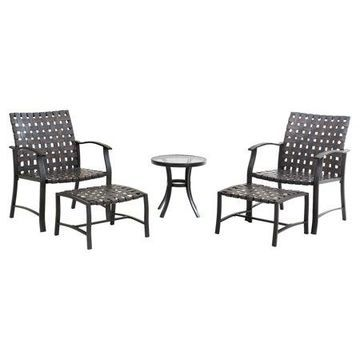 Sunjoy 5PC Table and Chairs Outdoor Seating Set with Ottomans, Bistro Set Patio Furniture, Black