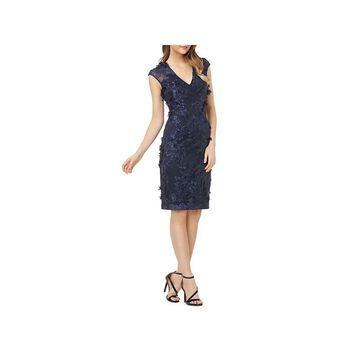 Carmen Marc Valvo Womens Sheath Dress Applique Embroidered