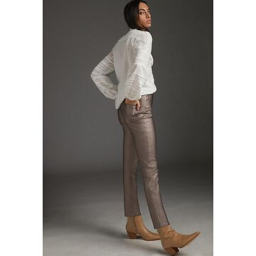 Anja Metallic Straight Pants By Avec Les Filles in Silver Size 32