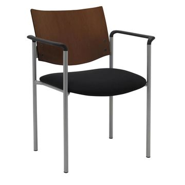 KFI Evolve Guest Chair with Arms and a Chocolate Wood Back (Black Vinyl)