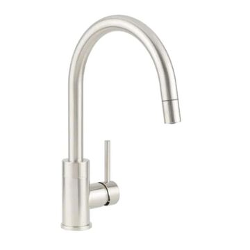 Miseno Mia Pvd Stainless Steel 1-Handle Deck-Mount Bar and Prep Handle Kitchen Faucet (Deck Plate Included)   MNO003DSSP