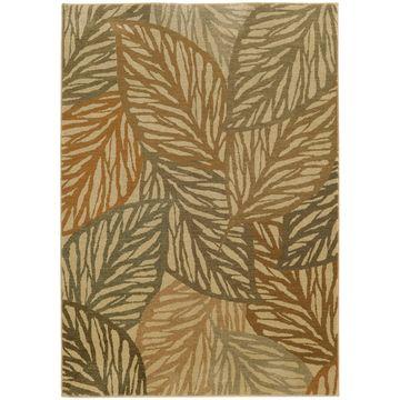 Style Haven Beige Polypropylene Indoor/Outdoor Tropical Leaves Area Rug (9'10 x 12'10) - 9'10