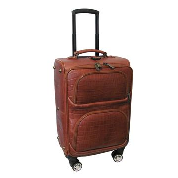 Amerileather Brown Leather Croco Print 24-inch Carry-on Removable Spinner Suitcase