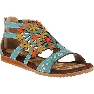 L'Artiste by Spring Step Women's Maribel Flat Sandal Turquoise Leather