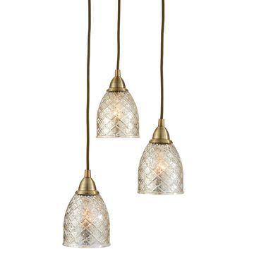 allen + roth Lynlore Old Brass Multi-Light French Country/Cottage Mercury Glass Dome Pendant Light