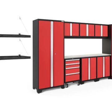 NewAge Products Bold Series 132-in W x 77.25-in H Deep Red Steel Garage Storage System Stainless Steel | 51521