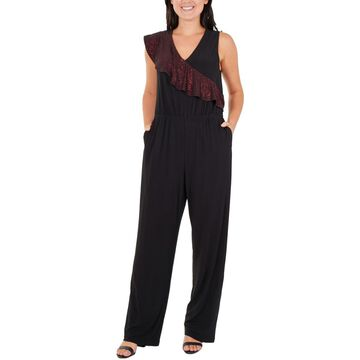 NY Collection Womens Petites Ruffled Sleeveless Jumpsuit