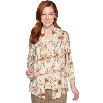 Petite Alfred Dunner Floral Mock-Layer Top