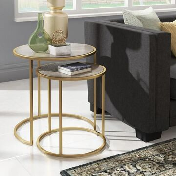 Subira Antique Gold Finished Metal and Reclaimed Wood Round End Table by iNSPIRE Q Bold - End Table (End Table)