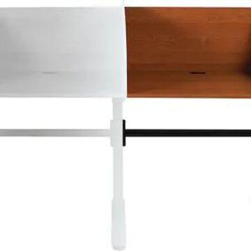 Balt Lumina Add-On Carrel, 31-1/4w x 24d x 45-3/4h, Cherry/Black | Quill