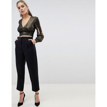 Fashion Union cropped blouse in metallic