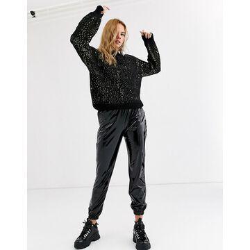 Noisy May vinyl sweatpants in black