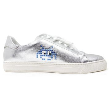 Anya Hindmarch Silver Leather Trainers