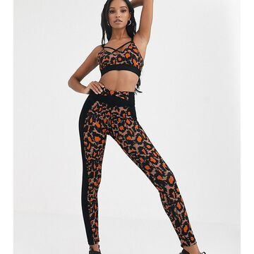 Wolf & Whistle leopard print leggings with side panel in black