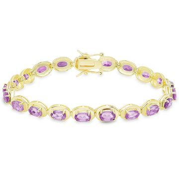 Dolce Giavonna Gold Over Sterling Silver Oval Gemstone Link Bracelet