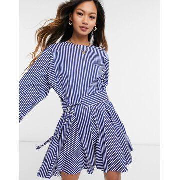 Derek Lam 10 Crosby striped tunic dress in blue multi-Blues