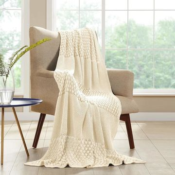 Amrapur Overseas Cable Knit Popcorn Stitch Throw with Border