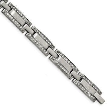 Chisel Stainless Steel Brushed CZ 8.5 Inch Link Bracelet