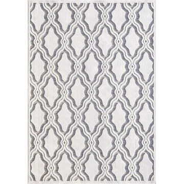 Orian Rugs Cotton Blossom 8 x 11 Natural/Gray Indoor/Outdoor Damask Farmhouse/Cottage Area Rug in Off-White   436440