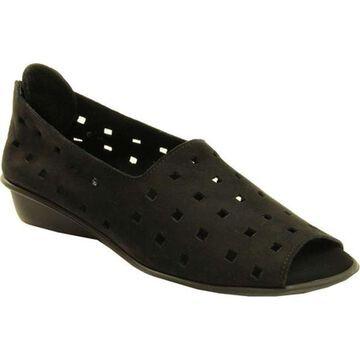 Sesto Meucci Women's Evonne Peep-Toe Slip-On Black Nabuk