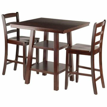 Pemberly Row 3 Piece Square Counter Height Dining Set in Walnut