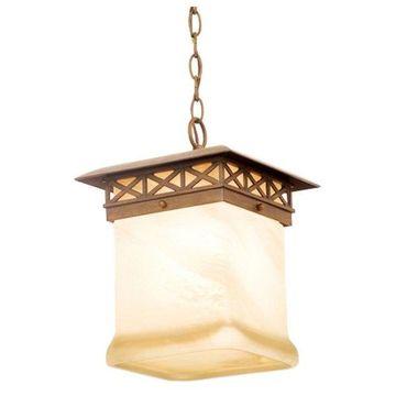 Kalco Craftsman Walnut and Antique White Glass Exterior Hanging Light