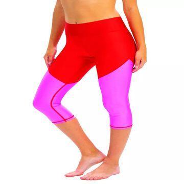 Women's Dolfin Uglies Revibe Colorblock Thigh Minimizer Capri Swim Bottoms, Size: XL, Red