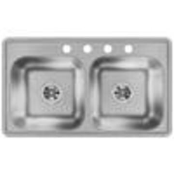 Dayton 33-in x 19-in Stainless Steel Double-Basin Drop-In 4-Hole Residential Kitchen Sink