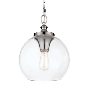 Feiss Tabby Polished Nickel Modern/Contemporary Clear Glass Globe Mini Pendant Light | P1307PN