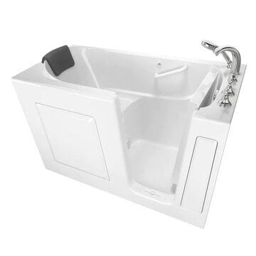 American Standard 29.75-in W x 59.5-in L White Gel-coated Fiberglass Rectangular Right Drain Walk-In Soaking Bathtub and Faucet Included