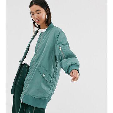 Monki longline bomber jacket in green