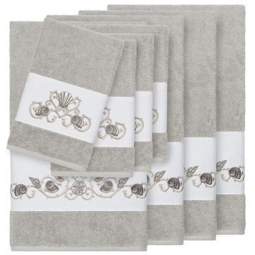 Authentic Hotel and Spa Turkish Cotton Shells Embroidered Light Grey 8-piece Towel Set