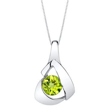 Oravo Peridot Sterling Silver Chiseled Pendant Necklace - Green