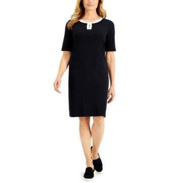 Karen Scott Petite Keyhole Sheath Dress, Created for Macy's