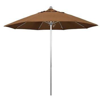 California Umbrella Venture 9' Silver Market Umbrella, Canvas Teak