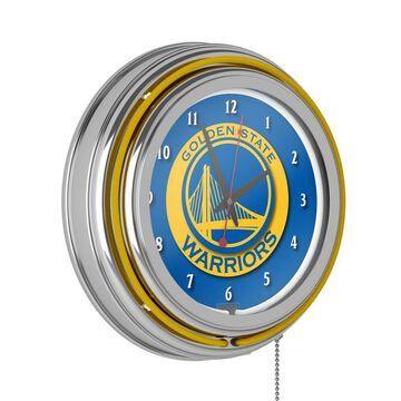 Trademark Gameroom Golden State Warriors Clocks Analog Round Wall Clock in Chrome
