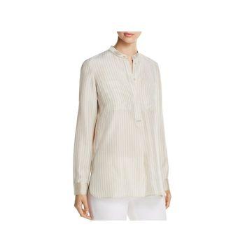 Lafayette 148 New York Womens Polina Blouse Silk Striped
