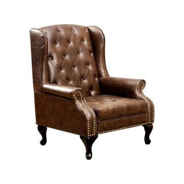 Vaugh Traditional Wing Accent Chair Chocolate - Benzara