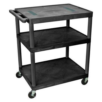 Luxor Black Endura Cart With 3 Shelves, 40