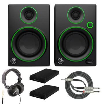 Mackie CR3 Multimedia Monitors with Headphones and Gear Isolation Pads