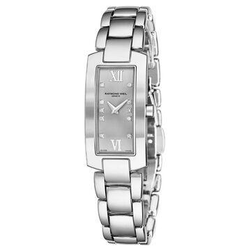 Raymond Weil Women's 1500-ST-00685 'Shine' Silver Diamond Dial Stainless Steel Quartz Watch