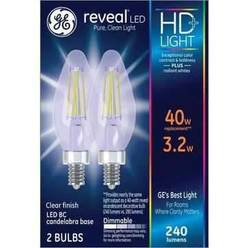GE Lighting 3887551 Reveal 3.2 watts B10 LED Bulb with 240 Lumens Pure Clean Light Decorative 40 watts Equivalence - Case of 4 - Pack of 2