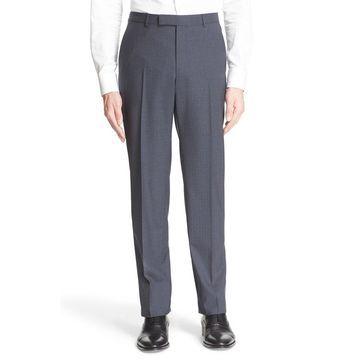 Z ZEGNA Mens Dress Pants Gray UK Size 56 Check-Print Flat Front Wool
