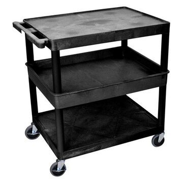 Luxor 3-Shelf Large Black Tub Cart